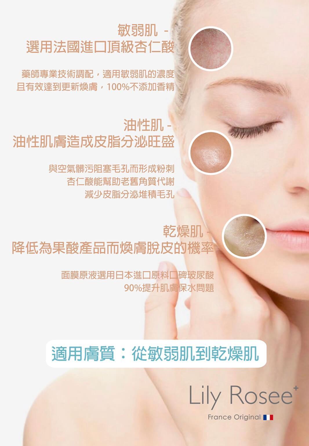 Lily Rosee杏仁酸面膜適用的肌膚類型